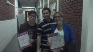 Integrantes del GT-Itc durante las Jornadas de la Red Nacional de Investigadores de la Comunicación (de izquierda a derecha: Juan Manuel Oyarzún, Gustavo López y Natalia Carrizo)